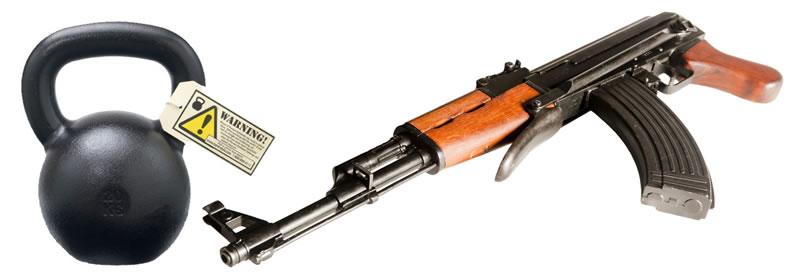 Kettlebell: AK-47 mezi nástroji na cvičení